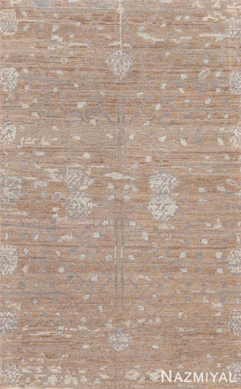 Neutral Modern Bespoke Turkish Oushak Rug Sample #60575 by Nazmiyal Antique Rugs