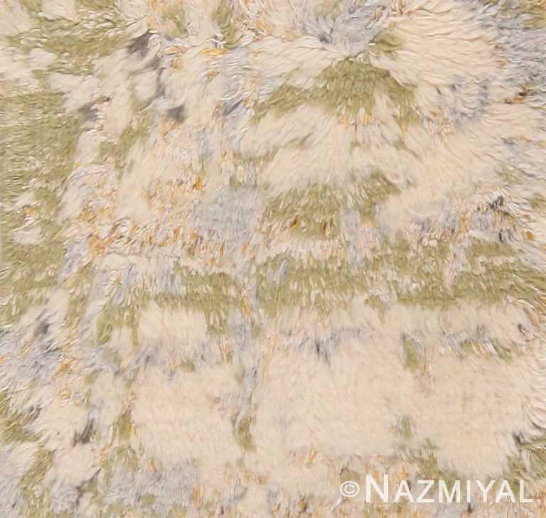 Plush Cream Green Modern Custom Moroccan Rug Sample 60625 by Nazmiyal Antique Rugs