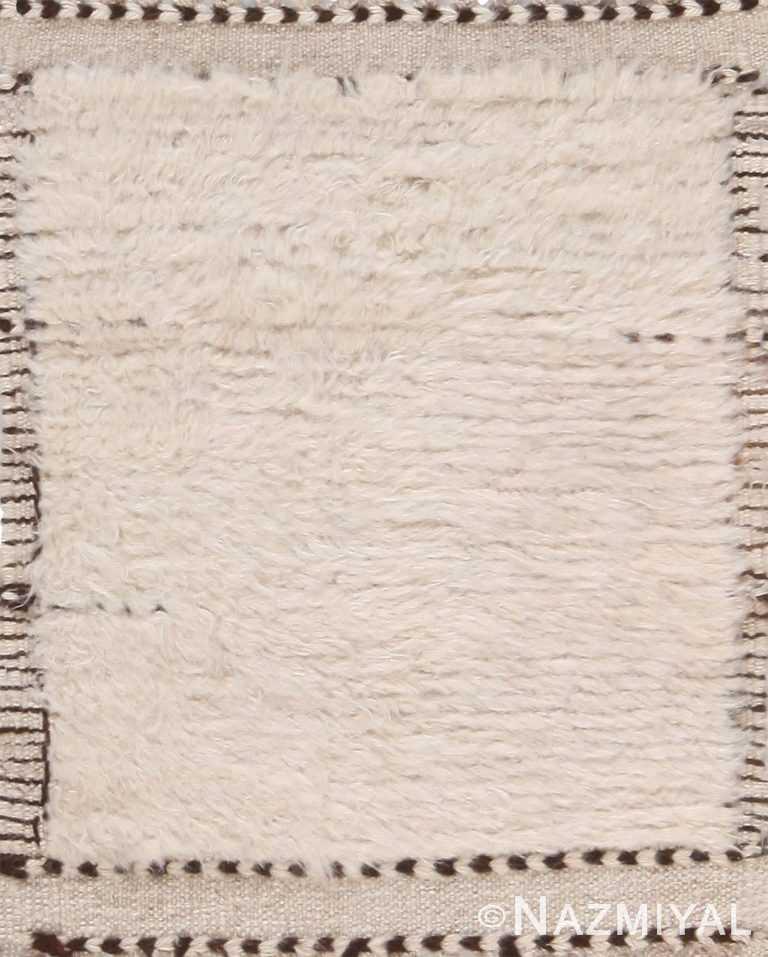 Plush Modern Bohemian Solid Cream Custom Area Rug Sample 60649 by Nazmiyal Antique Rugs