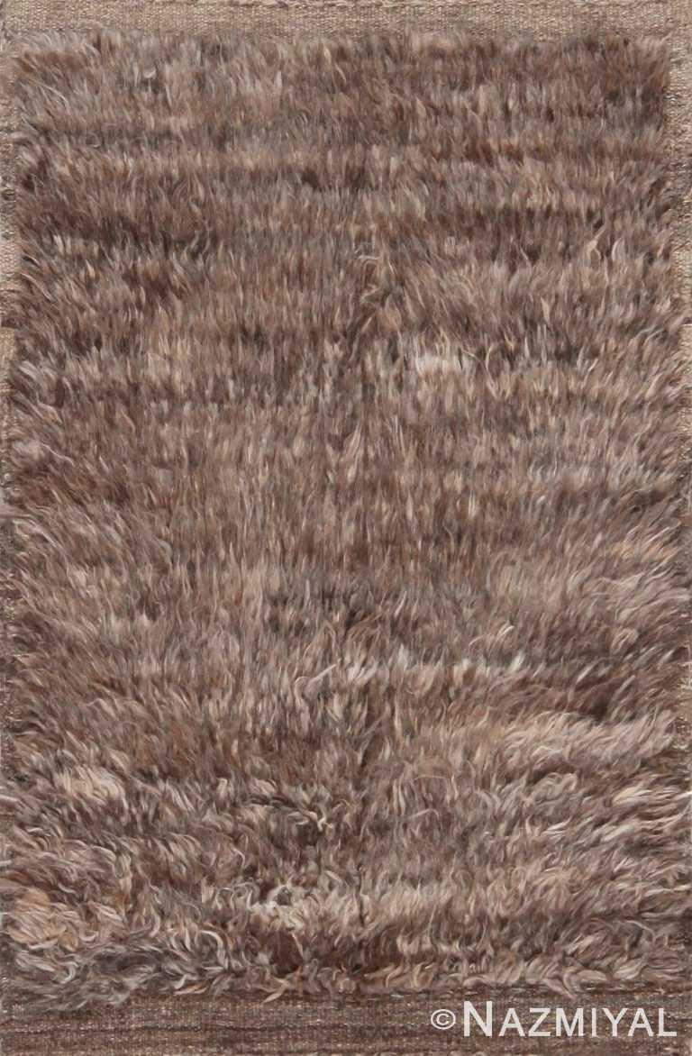 Plush Solid Grey Brown Bespoke Modern Bohemian Custom Rug Sample 60645 by Nazmiyal Antique Rugs
