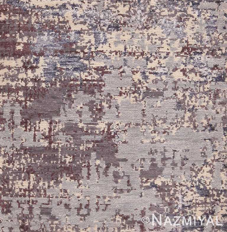 Soft Neutral Textured Silk Wool Modern Area Rug Sample 60610 by Nazmiyal Antique Rugs