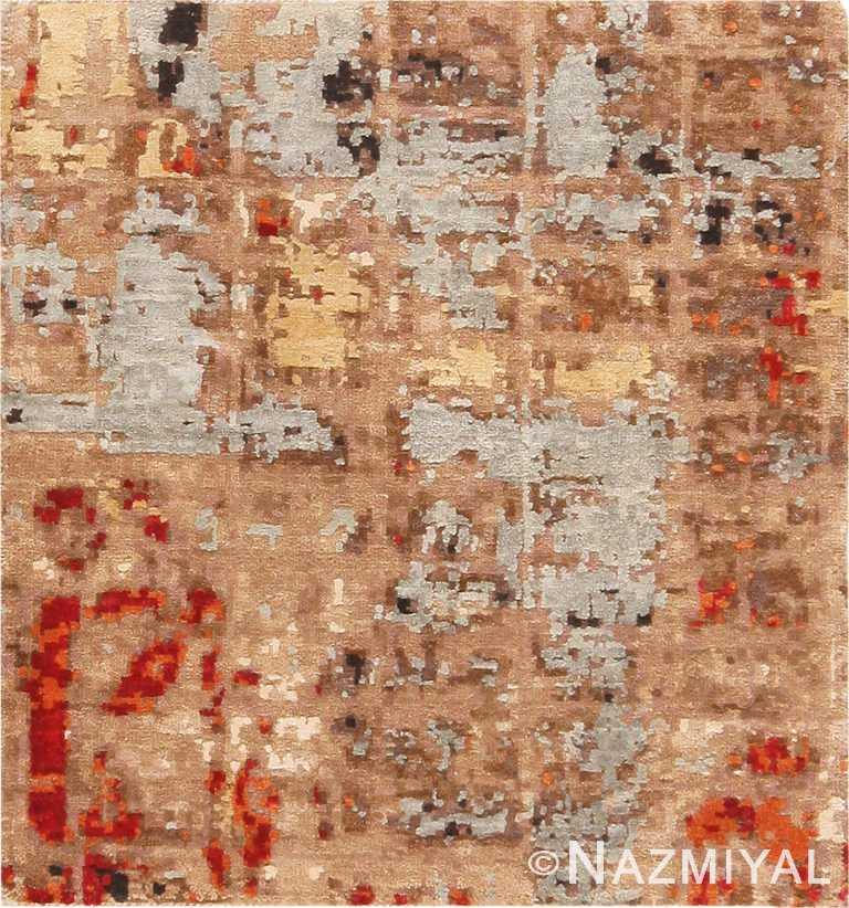 Textured Silk and Wool Modern Area Rug Sample 60596 by Nazmiyal Antique Rugs