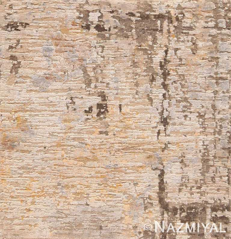 Textured Wool and Silk Neutral Custom Modern Area Rug Sample 60608 by Nazmiyal Antique Rugs
