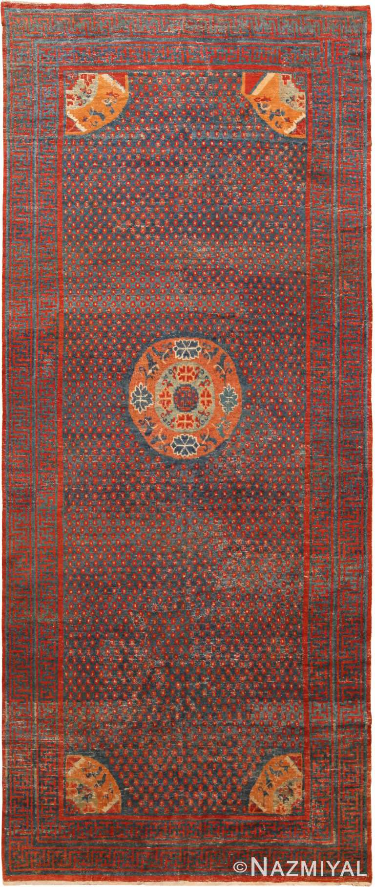 18th Century Antique Chinese Kansu Gallery Size Rug 70865 by Nazmiyal Antique Rugs
