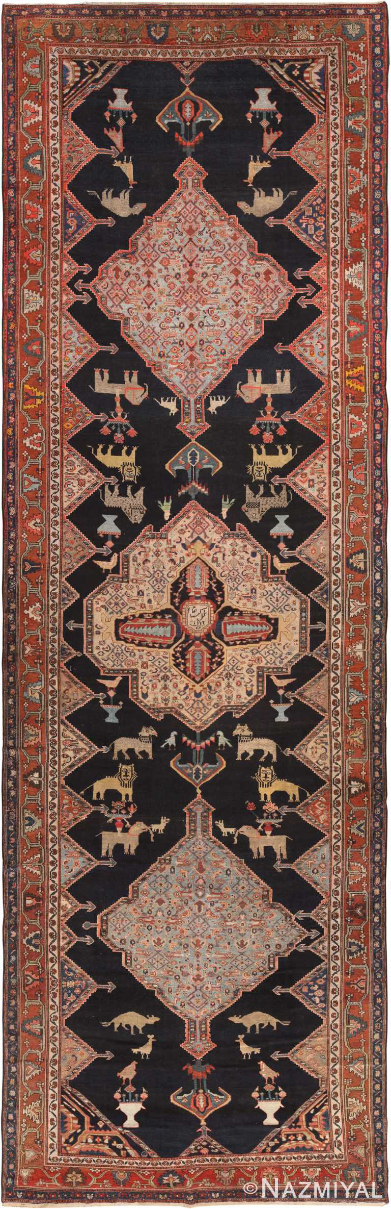 Animal Design Fine Gallery Size Antique Persian Senneh Rug 70795 by Nazmiyal Antique Rugs