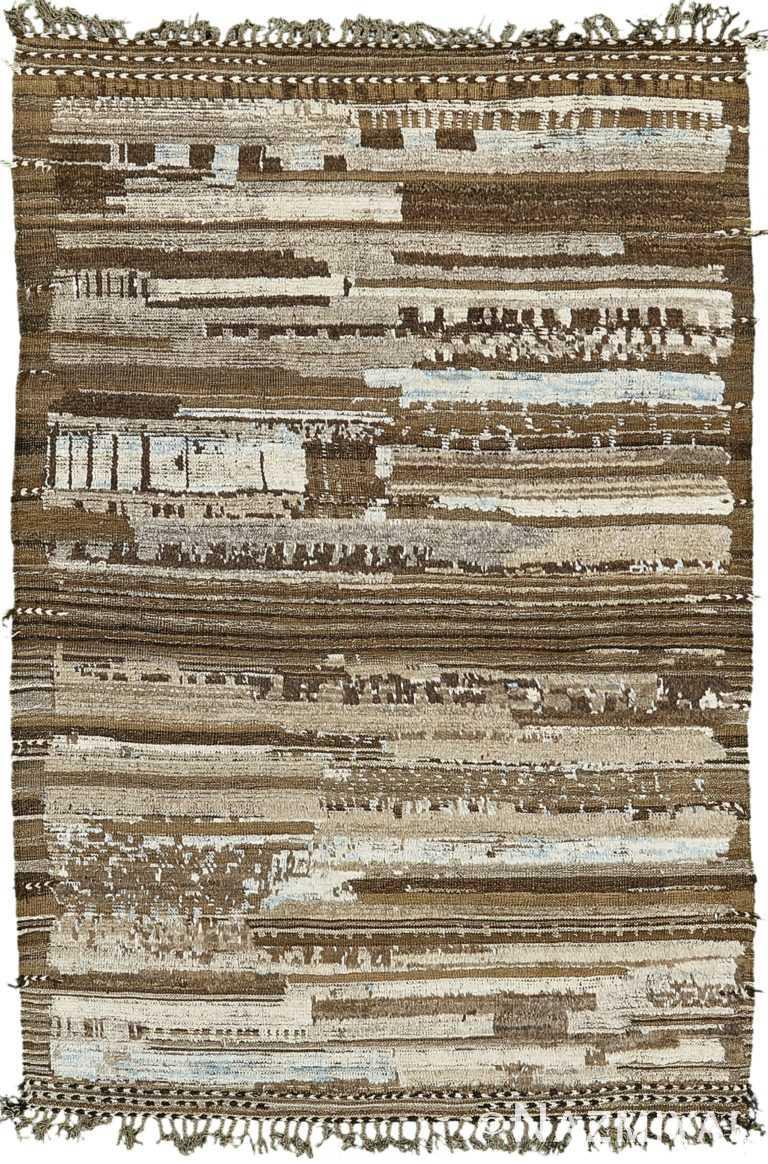 Brown Earth Tones Modern Distressed Rug 60690 by Nazmiyal Antique Rugs