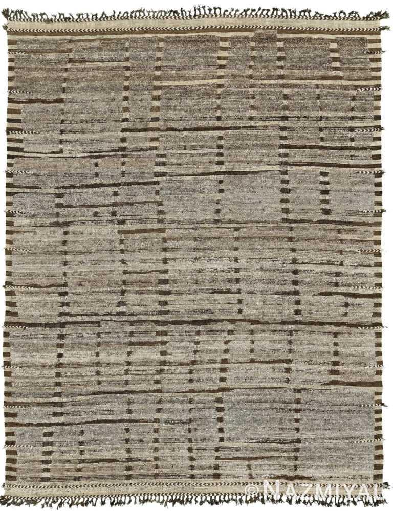 Brown Modern Distressed Rug 60716 by Nazmiyal Antique Rugs