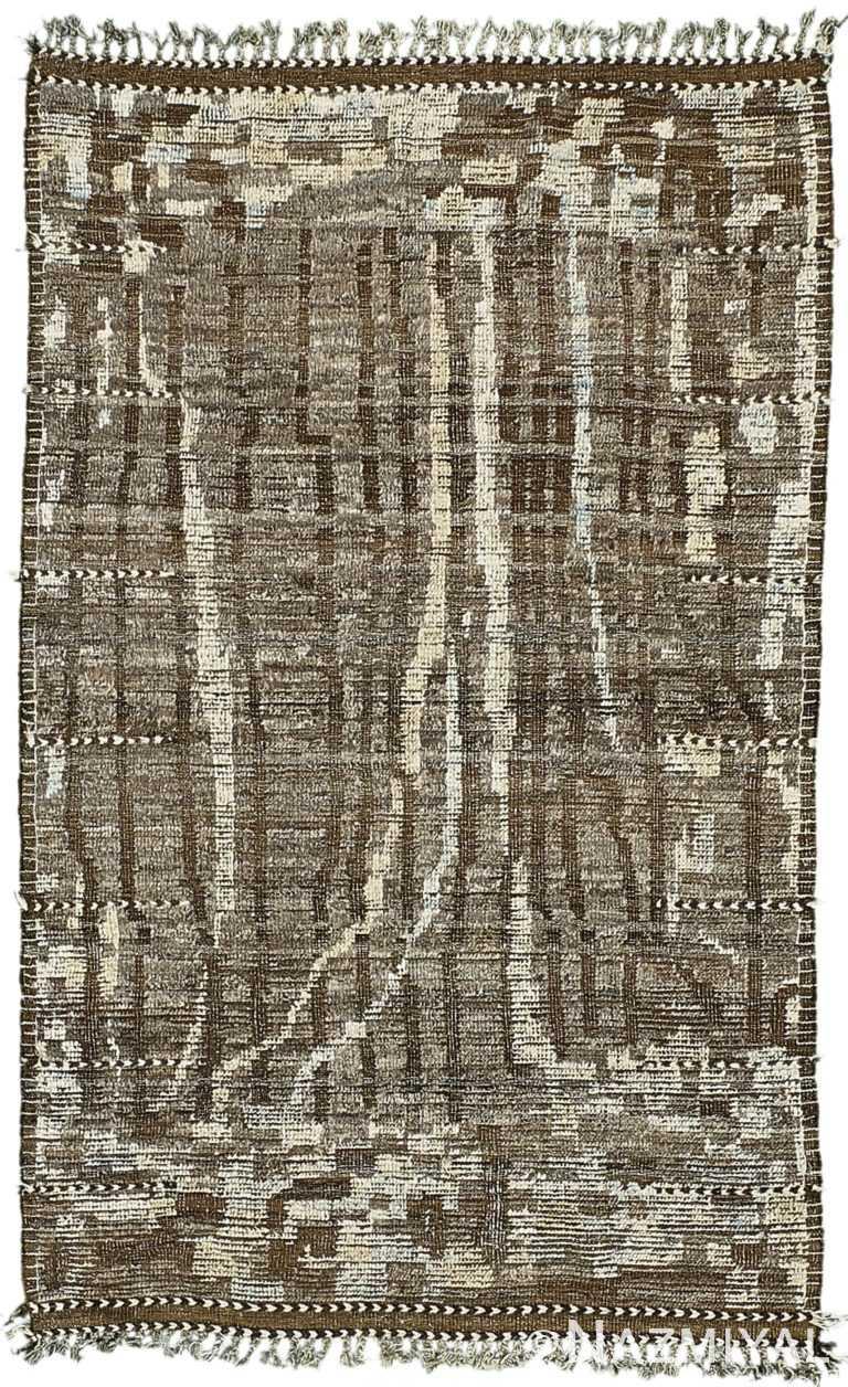 Charcoal Brown Modern Distressed Rug 60699 by Nazmiyal Antique Rugs