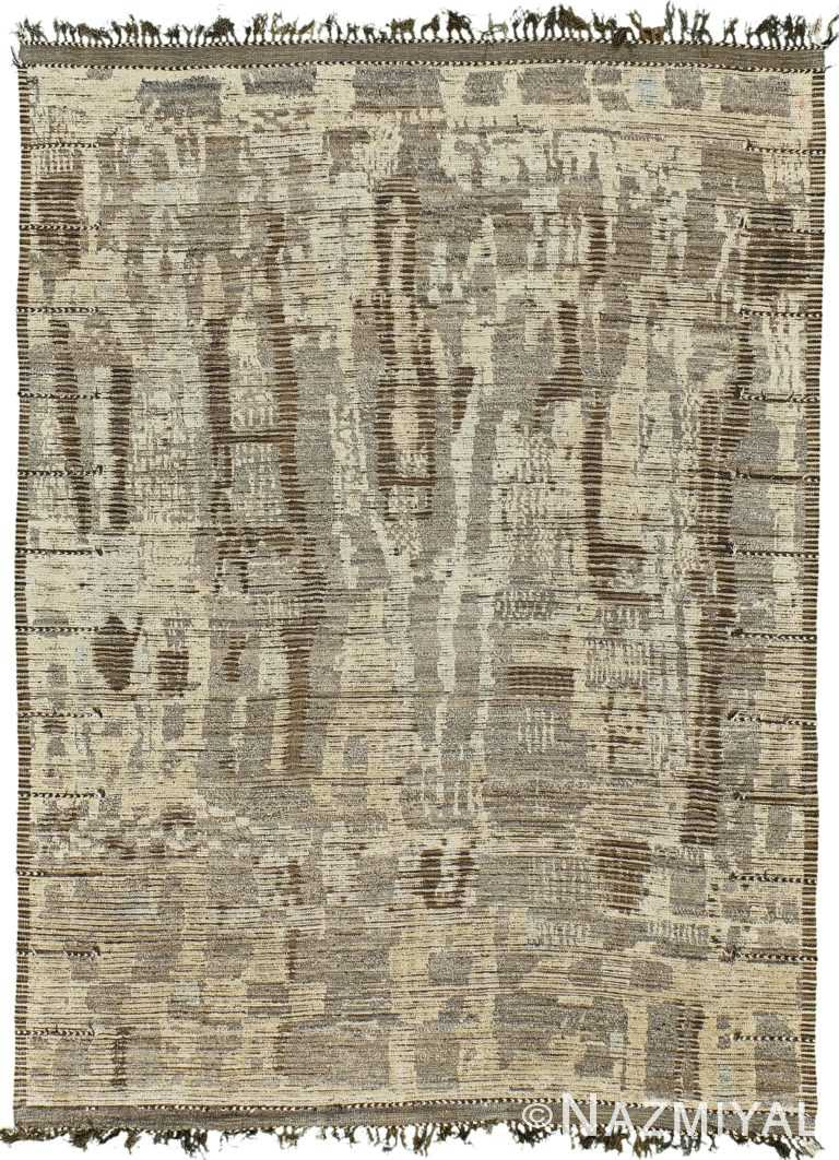 Charcoal Brown Modern Distressed Rug 60704 by Nazmiyal Antique Rugs
