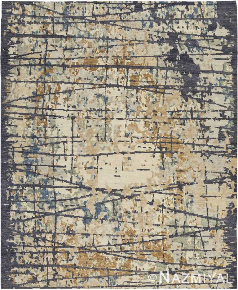 Contrasted Gold Blue Modern Boutique Rug 60737 by Nazmiyal Antique Rugs