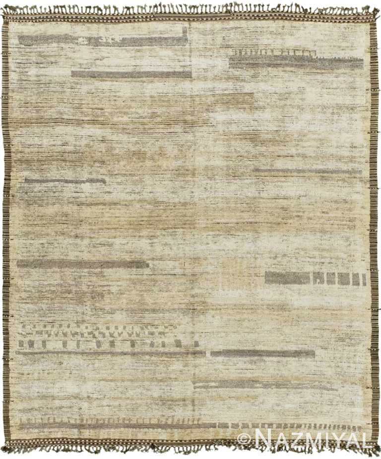 Earth Tone Modern Distressed Rug 60698 by Nazmiyal Antique Rugs