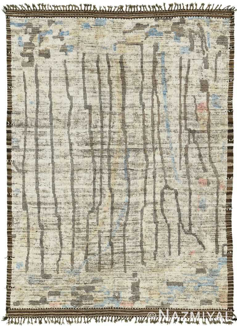 Decorative Modern Distressed Rug 60715 by Nazmiyal Antique Rugs