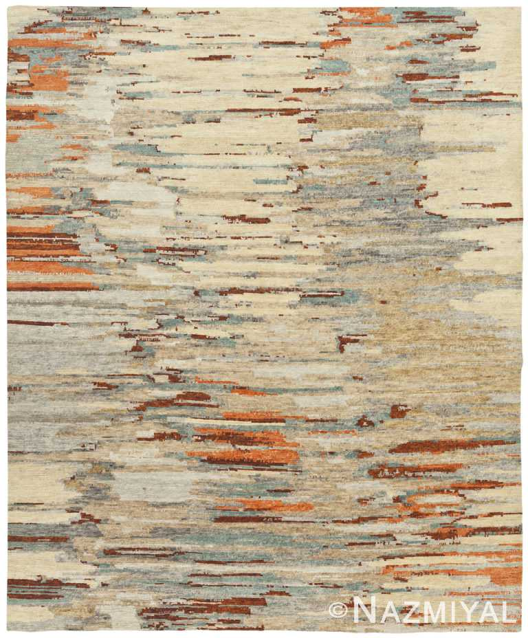 Decorative Rust Blue Modern Boutique Rug 60739 by Nazmiyal Antique Rugs
