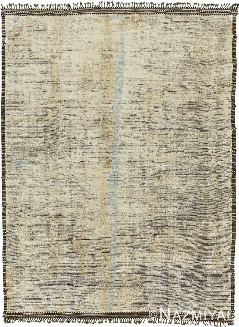 Earth Tones Decorative Modern Distressed Rug 60709 by Nazmiyal Antique Rugs