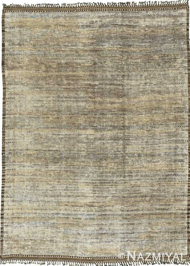 Earth Tones Modern Distressed Rug 60695 by Nazmiyal Antique Rugs