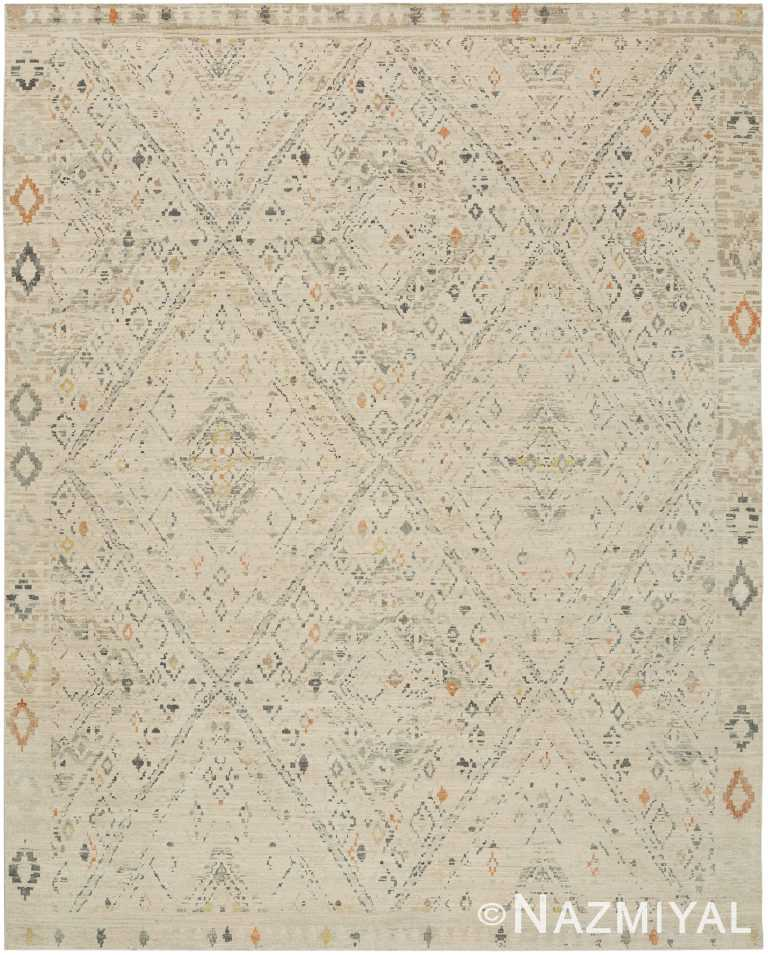 Geometric Beige Modern Boutique Rug 60730 by Nazmiyal Antique Rugs