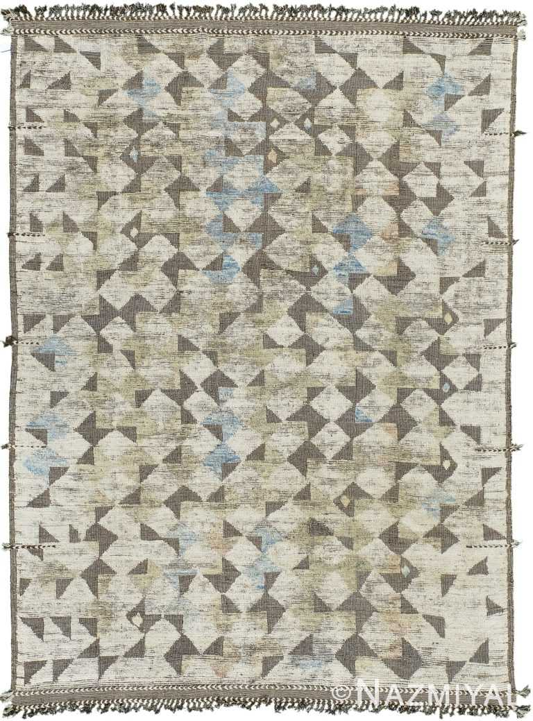 High Low Pile Modern Distressed Rug 60701 by Nazmiyal Antique Rugs
