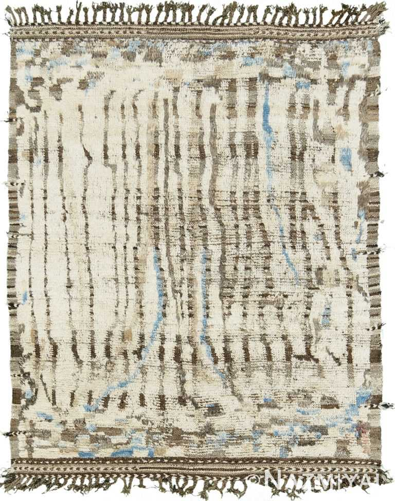 Ivory And Blue Modern Distressed Rug 60685 by Nazmiyal Antique Rugs