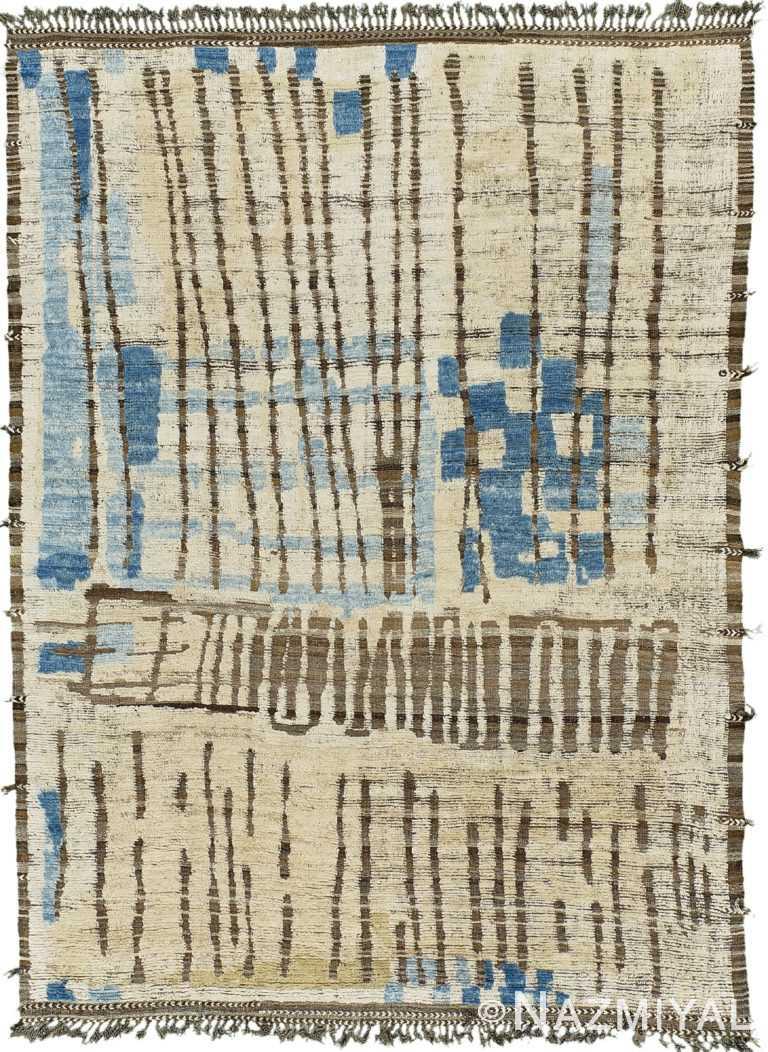 Ivory Blue Modern Distressed Rug 60708 by Nazmiyal Antique Rugs