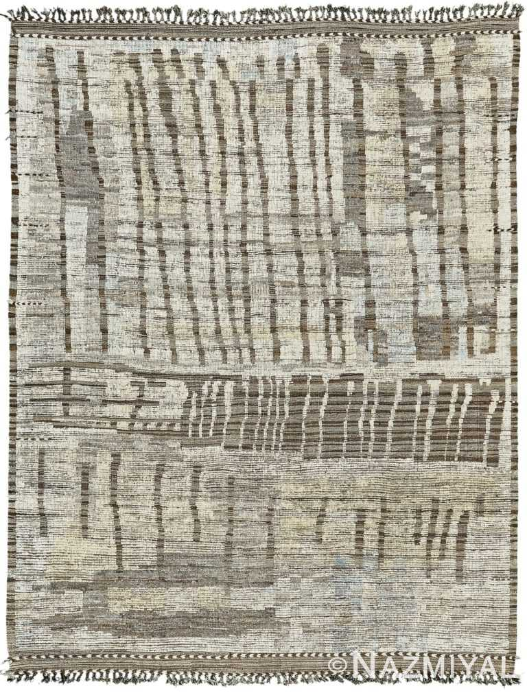 Ivory Gray Modern Distressed Rug 60693 by Nazmiyal Antique Rugs