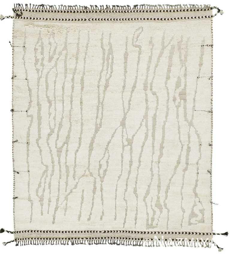 Ivory Textured Modern Boho Chic Rug 60694 by Nazmiyal Antique Rugs