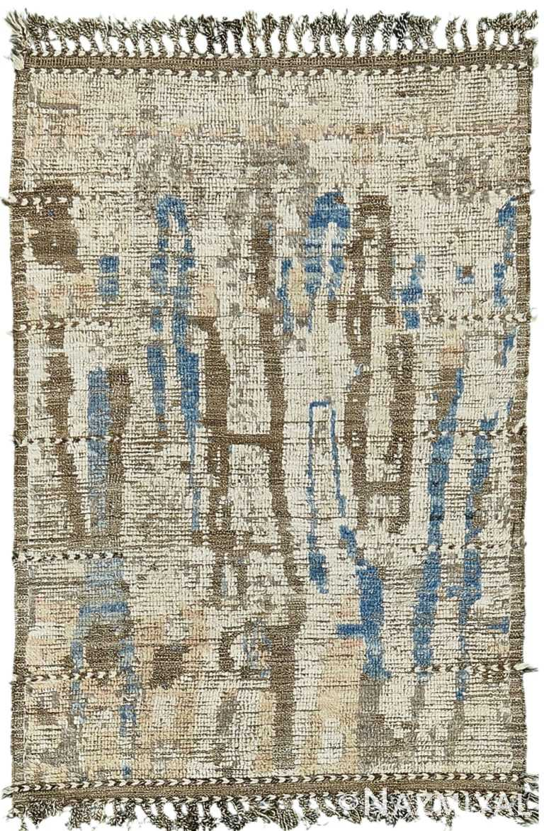 Nature Inspired Colors Modern Distressed Rug 60667 by Nazmiyal Antique Rugs