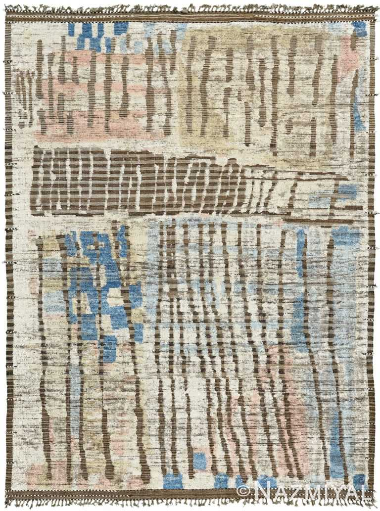 Nature Inspired Colors Modern Distressed Rug 60691 by Nazmiyal Antique Rugs