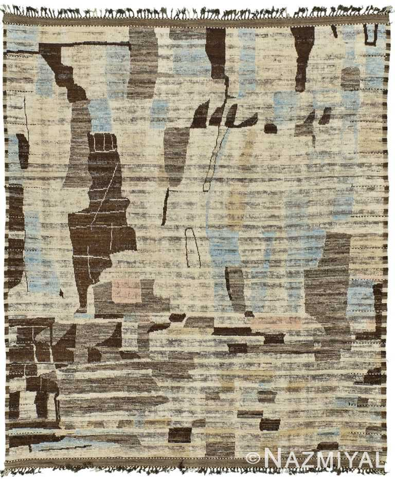 Nature Inspired Colors Modern Distressed Rug 60700 by Nazmiyal Antique Rugs