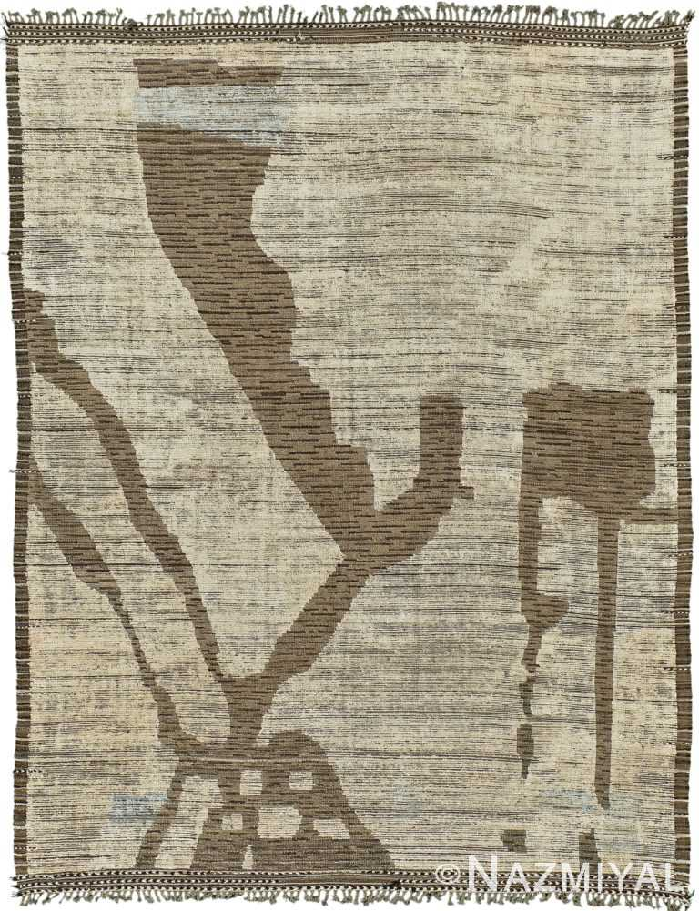 Nature Inspired Modern Distressed Rug 60706 by Nazmiyal Antique Rugs