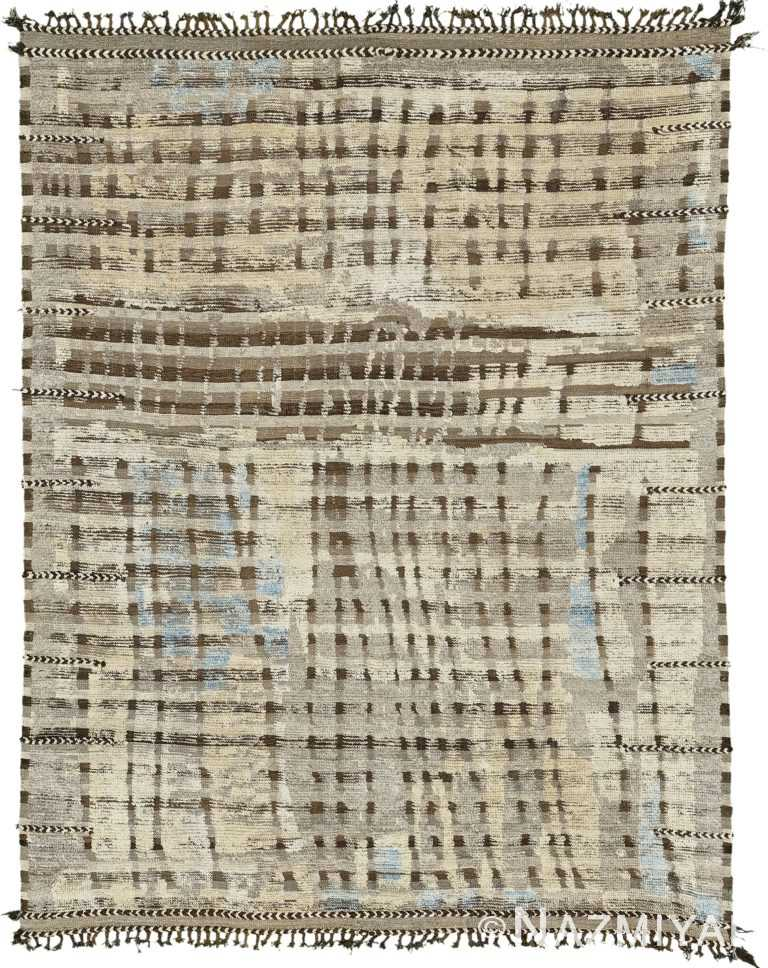 Nature Tones Textured Modern Distressed Rug 60714 by Nazmiyal Antique Rugs