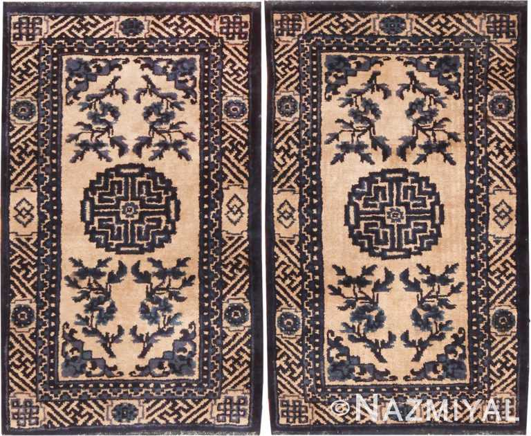 Pair Of Small Ivory And Blue Antique Chinese Rugs 70881 by Nazmiyal Antique Rugs
