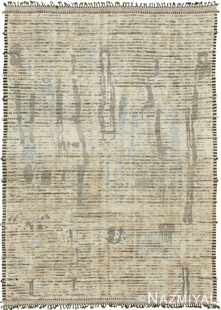 Primitive Design Modern Distressed Area Rug 60668 by Nazmiyal Antique Rugs