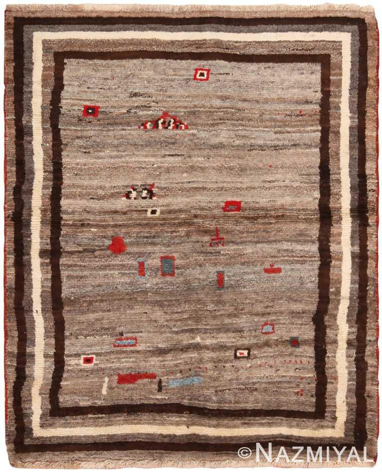 Small Grey Tribal Vintage Persian Gabbeh Rug 70838 by Nazmiyal Antique Rugs