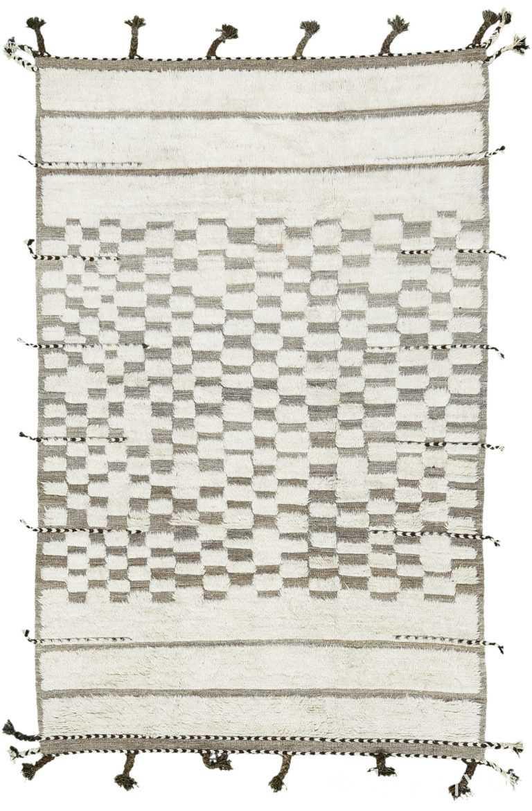 Soft Ivory Wool Textured Modern Boho Chic Rug 60676 by Nazmiyal Antique Rugs