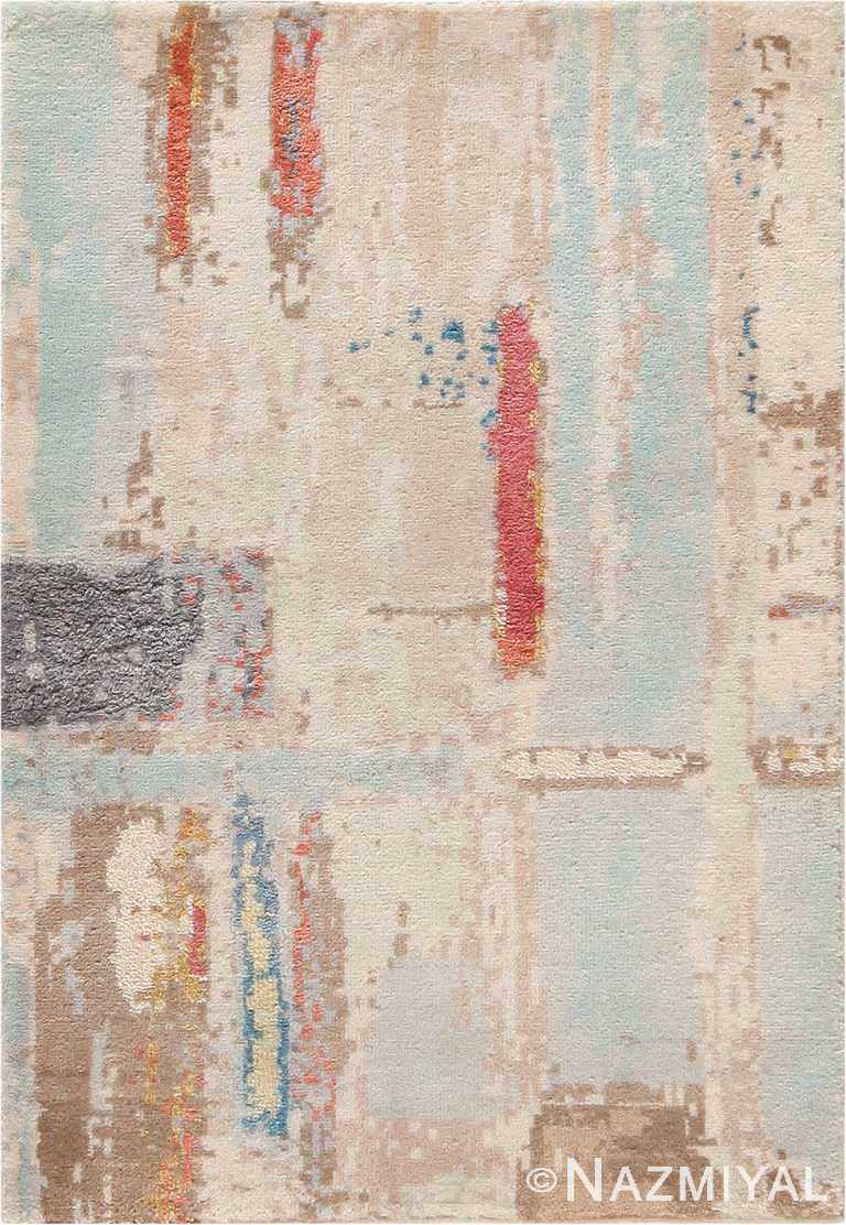 Soft Light Blue And Ivory Silk And Wool Custom Rug Sample 60660 by Nazmiyal Antique Rugs