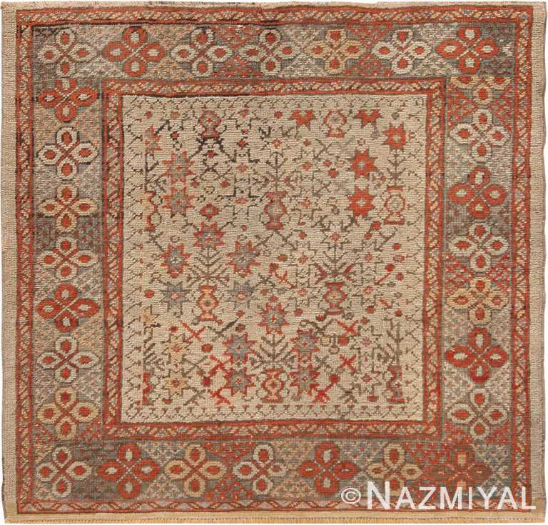 Square Antique Turkish Ghiordes Tribal Rug 70873 by Nazmiyal Antique Rugs