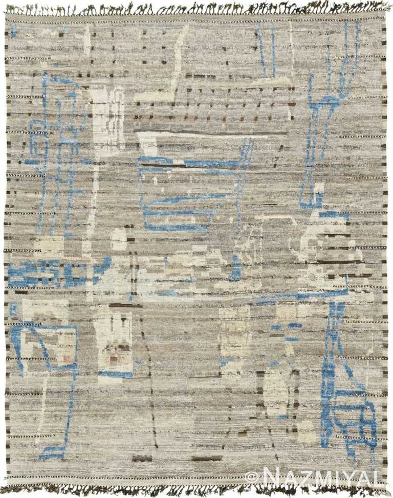 Taupe And Blue Modern Distressed Rug 60687 by Nazmiyal Antique Rugs