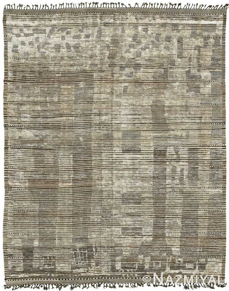 Taupe And Brown Modern Distressed Rug 60688 by Nazmiyal Antique Rugs