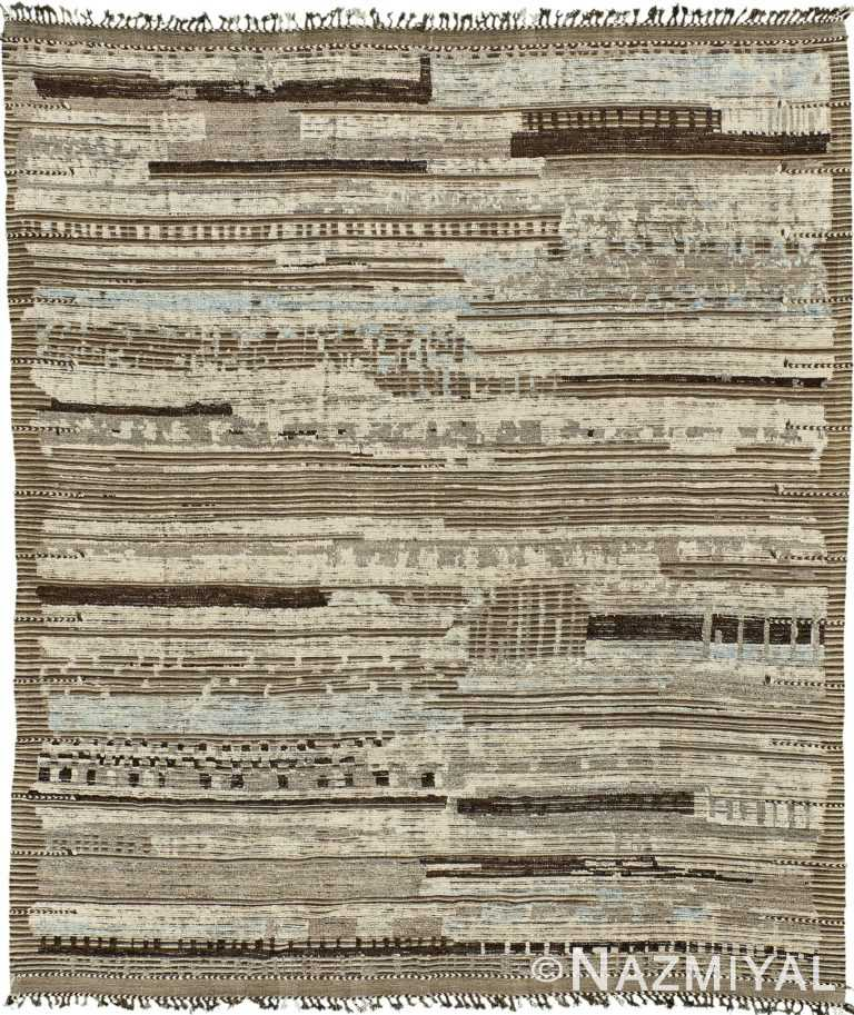 Textured Earth Tones Modern Distressed Rug 60703 by Nazmiyal Antique Rugs
