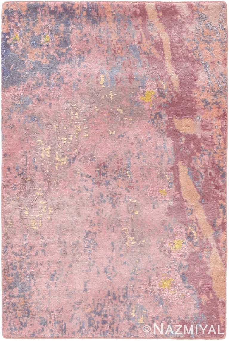 Textured Pink Silk And Wool Custom Rug Sample 60663 by Nazmiyal Antique Rugs