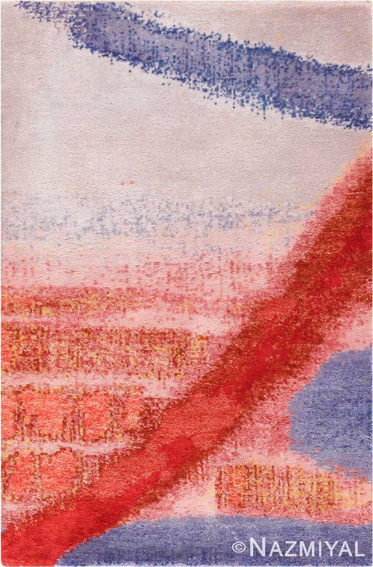 Textured Red And Blue Silk And Wool Custom Rug Sample 60661 by Nazmiyal Antique Rugs