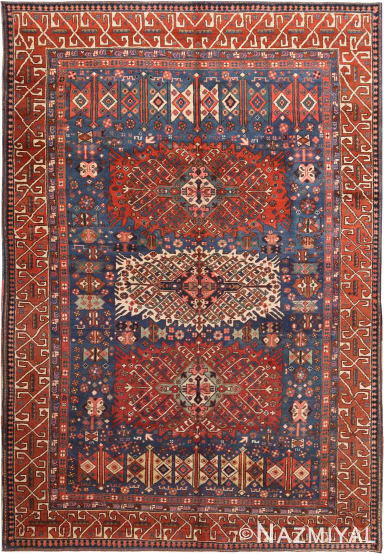 Blue Background Antique Persian Heriz Rug 70934 by Nazmiyal Antique Rugs