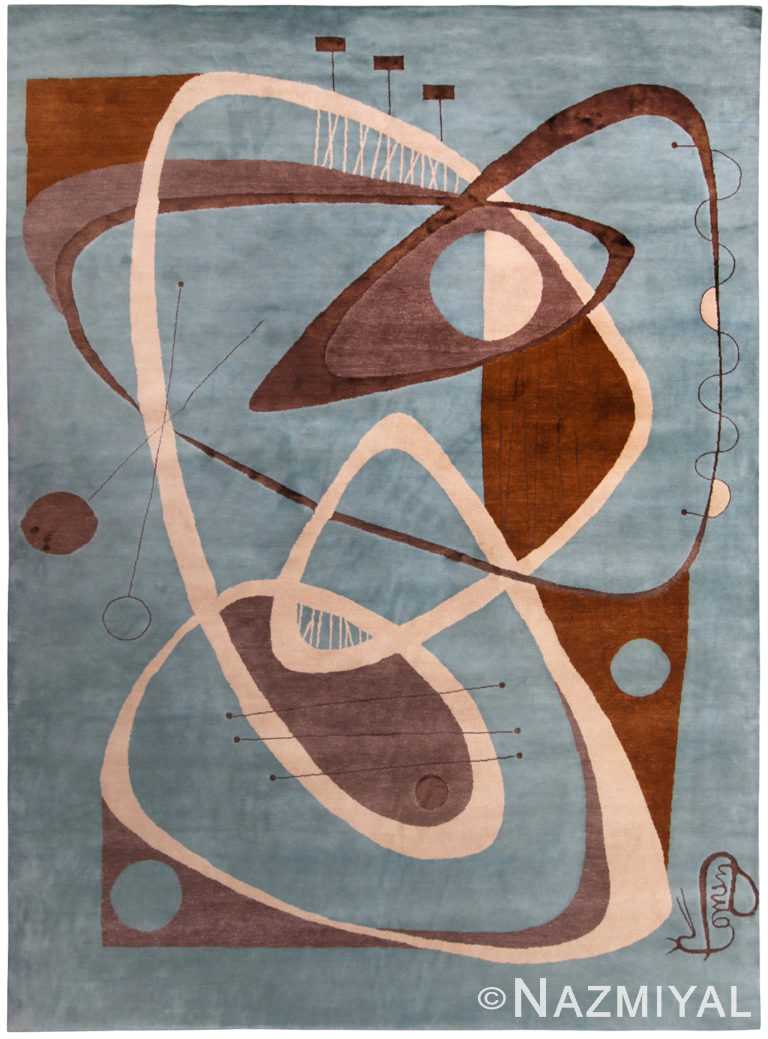 Blue And Brown Abstract Mid Century Modern Rug 60747 by Nazmiyal Antique Rugs