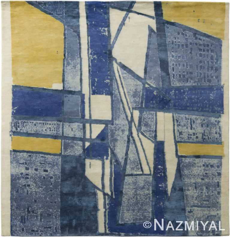 Blue Yellow Geometric Mid Century Modern Rug 60757 by Nazmiyal Antique Rugs