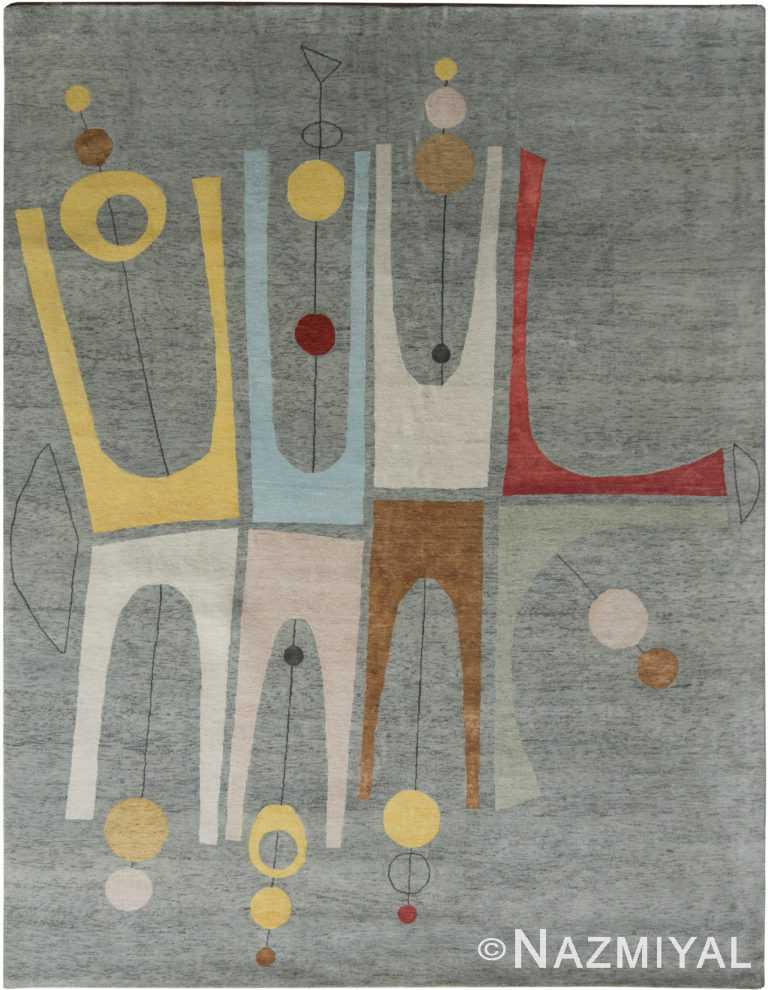 Decorative Grey Mid Century Modern Rug 60760 by Nazmiyal Antique Rugs