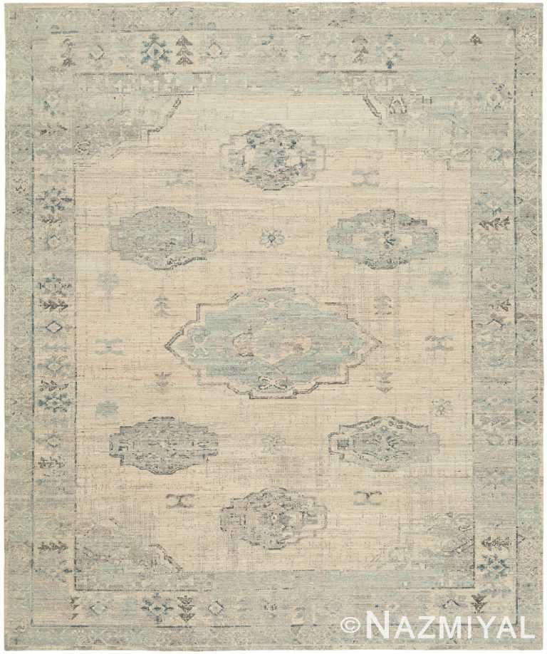 Decorative Ivory Blue Modern Boutique Rug 60725 by Nazmiyal Antique Rugs