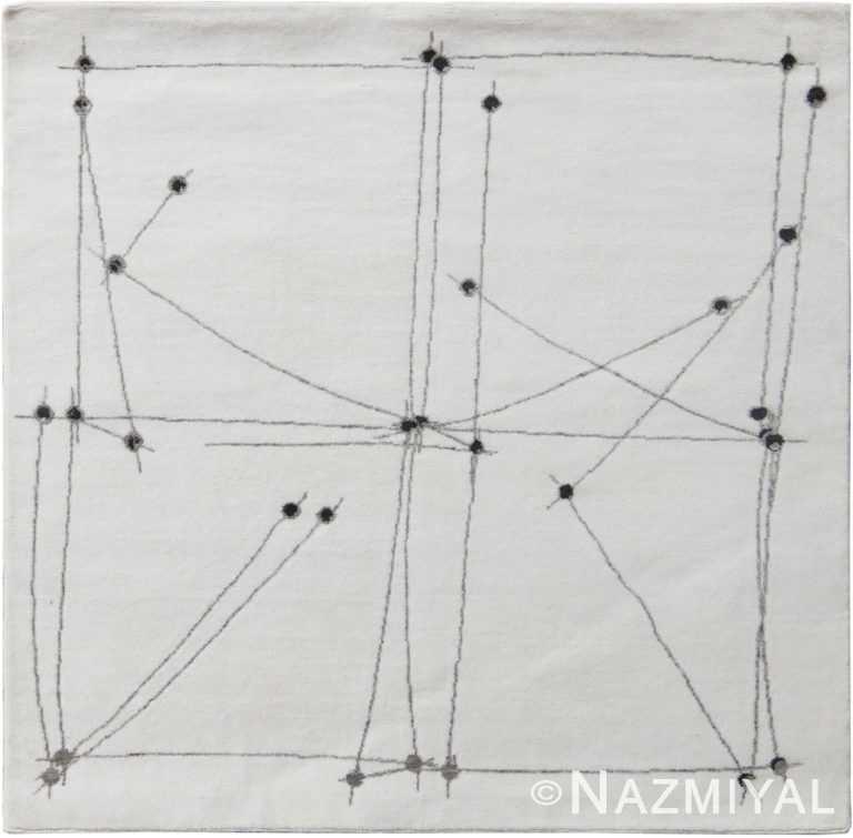 Decorative White Mid Century Modern Rug 60768 by Nazmiyal Antique Rugs
