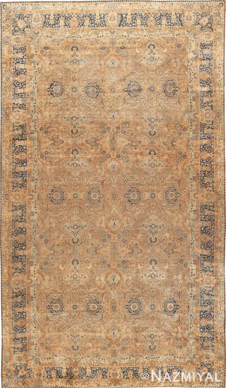 Oversized Floral Antique Persian Kerman Rug 70936 by Nazmiyal Antique Rugs
