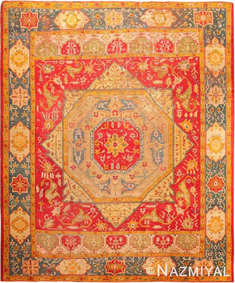 Geometric Antique Turkish Oushak Rug 70879 by Nazmiyal Antique Rugs