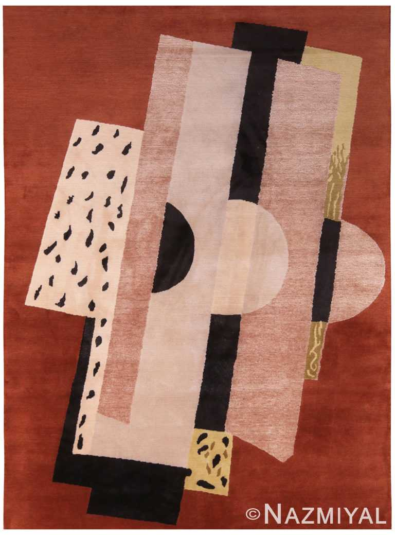 Geometric Brown Background Mid Century Modern Rug 60748 by Nazmiyal Antique Rugs